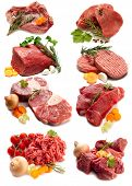 stock photo of hamburger-steak  - collage of red meat with ingredients - JPG