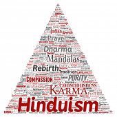 Conceptual hinduism, shiva, rama, yoga triangle arrow red word cloud isolated background. Collage of poster