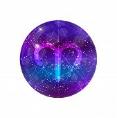 Aries Zodiac Sign And Constellation On A Cosmic Purple Sky With Glowing Stars And Nebula Isolated On poster