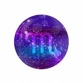 Scorpio Zodiac Sign And Constellation On A Cosmic Purple Sky With Glowing Stars And Nebula Isolated  poster