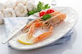 pic of norway lobster  - norway lobster with tomatoes and lemon on dish - JPG