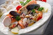 picture of norway lobster  - sea salad on dish - JPG