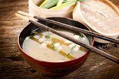 soup with tofu and seaweed
