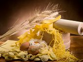 traditional italian homemade pasta with ingredients