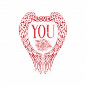 Love You Sketch Vector Color Illustration. Hand Drawn Angel Wings And Rose Flower Isolated Clipart.  poster