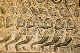 pic of mahabharata  - Bas relief carving of Kaurava foot soldiers heading at the Battle of Kurukshetra as described in the Mahabharata - JPG