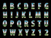 vector 3d golden alphabet with reflection of the landscape