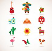 stock photo of pinata  - set of Mexico vector illustrations - JPG
