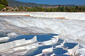 Travetine Covered Hills And Rock Pools Of Pamukkale Turkey