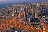 Dubai city areal view from Burj Khalifa, UAE