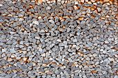 stock photo of afforestation  - Sawed Firewood Dropped in a Pile as Background - JPG
