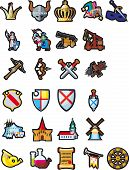 stock photo of crossed swords  - A large set of different icons of medieval themes - JPG