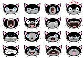 Set of 16  kitten faces