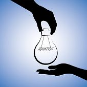Concept Illustration Of One Person Providing Solution To The Other. The Graphic Uses A Light Bulb Wi