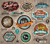 Set of Premium Quality Vintage Label with high contrast colors and water drops. Old style and distressed look,