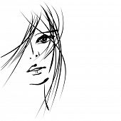 art sketching vector girl face  symbols. Vector version is also in my gallery.