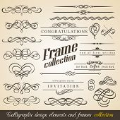 Calligraphic Design Elements and Frames. Vintage Collection. Vector.