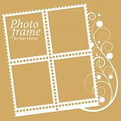 frame with floral Elements for four photos. vector