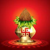beautiful shiny diwali kalash vector illustration