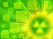 stock photo of radium  - green background with rays of light and a source of radiation in the form of a blurred symbol of radiation - JPG