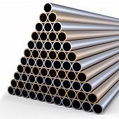 stock photo of cylinder pyramid  - tubes made of rare earth alloys for high - JPG
