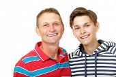 stock photo of average man  - Father with son teen happy smiling over white background - JPG