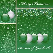 Xmas Balls And Tree On Green