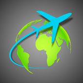 image of aeroplane symbol  - illustration of airplane around Earth map - JPG