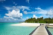 Beautiful beach with jetty at Maldives