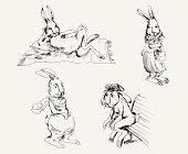 stock photo of thumper  - compilation of vector sketches hares in typical situations - JPG