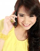stock photo of handphone  - closed up of young girl talking at the handphone - JPG