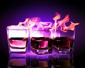 foto of absinthe  - Image of three glasses of burning puple absinthe - JPG