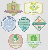 stock photo of hydro  - set of labels relating to ecology theme - JPG