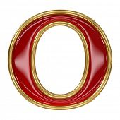 Ruby red with golden outline alphabet letter symbol - O