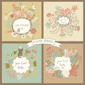 stock photo of invitation  - Cute set of four floral backgrounds with flowers - JPG