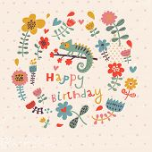 Cute floral birthday card with amazing chameleon in flowers. Vintage vector card party invitation de