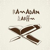 Illustration of islamic religious book Quran Shareef with Stylish text Ramadan Kareem on abstract ba
