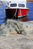 Fishing Nets And Boat With Shallow Dof