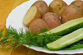 Potatoes, Salt Cucumber And Dill Still-life
