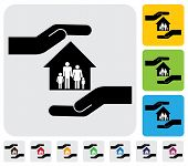 Hand Protecting Family & House(home)- Simple Vector Graphic