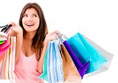 picture of windy  - Happy shopping woman smiling  - JPG
