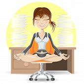 pic of breathing exercise  - Woman Meditation At The Office Calming Down In Busy Environment - JPG