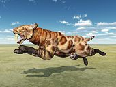 foto of saber-toothed  - Computer generated 3D illustration with the Smilodon - JPG