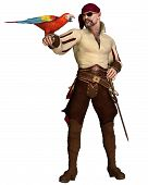 image of buccaneer  - Old pirate with eye patch and bandana holding a scarlet macaw - JPG
