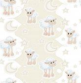 Seamless Pattern With Cartoon Sleepy Baby Sheep, Stars And Moon