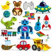 stock photo of dinosaur  - A vector set of colorful cartoon toys - JPG