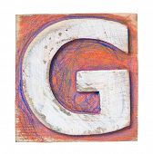 Wooden alphabet block, letter G