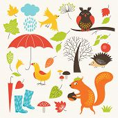 image of fall day  - set of cartoon characters and autumn elements - JPG