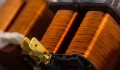 image of transformer  - Closeup of electrical copper transformers - JPG