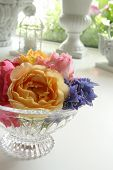 Summer Flowers in Crystal Bowl